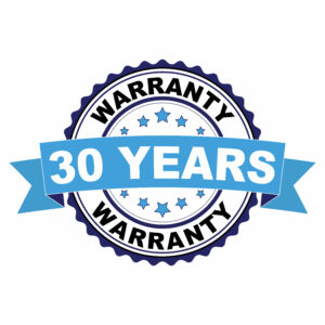 Blue black rubber stamp with 30 years warranty concept